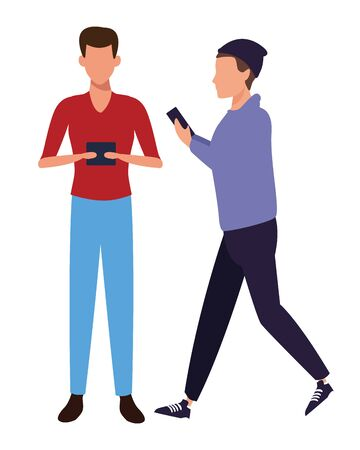 casual people men with technology device cartoon vector illustration graphic design Иллюстрация