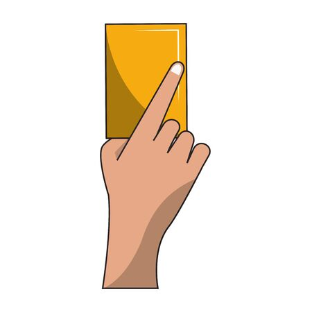 Soccer yellow referee card sport cartoons vector illustration graphic design