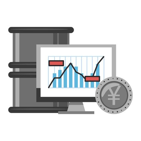 Online stock market investment computer wit yen coin and petroleum barrel symbols vector illustration