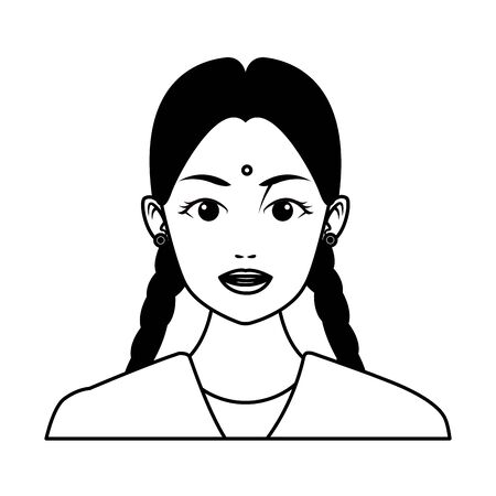 indian young girl face with bindi and braid profile picture avatar cartoon character portrait in black and white vector illustration graphic design Ilustração