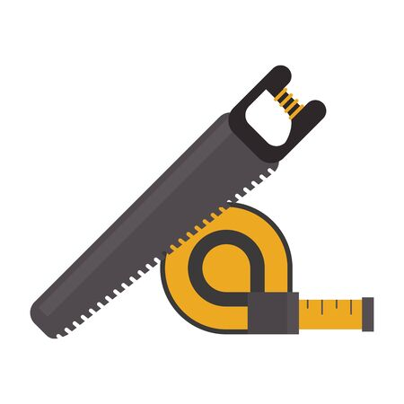Construction tools measurement tape and saw vector illustration graphic design