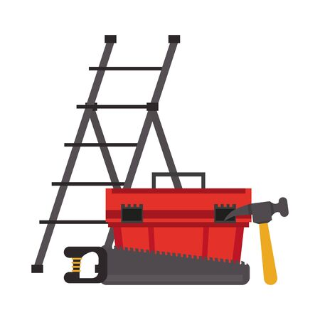 Construction tools stairs and toolbox with hammer and saw vector illustration graphic design