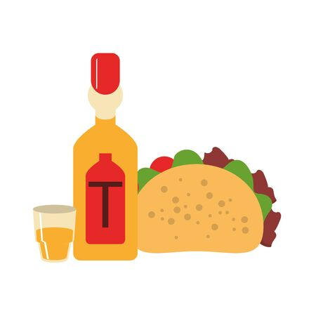mexico culture and foods cartoons tequila bottle and glass also taco vector illustration graphic design
