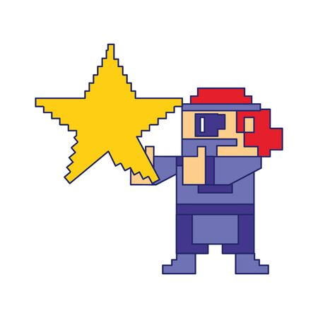 Videogame pixelated gangster character with star isolated vector illustration graphic design 向量圖像