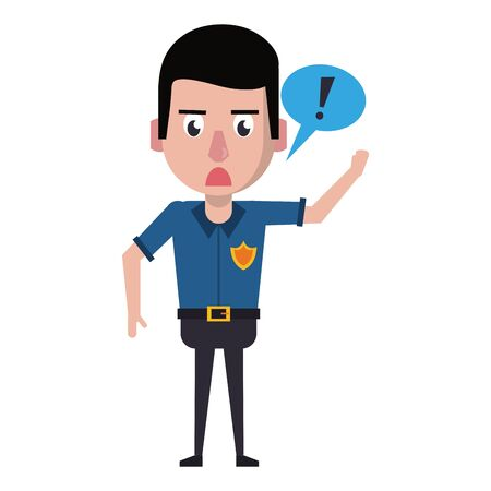 policeman screaming with speech bubble avatar cartoon character vector illustration graphic design