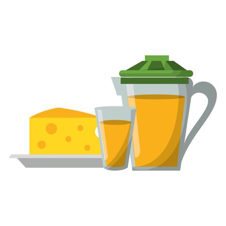 Breakfast morning food cheese and orange juice jat and cup cartoons vector illustration graphic design Illustration