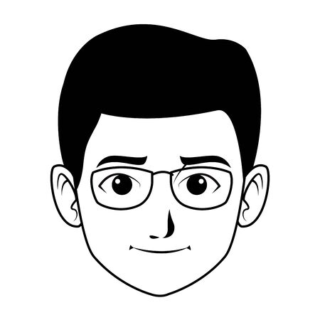 indian young boy face with glasses profile picture avatar cartoon character portrait in black and white vector illustration graphic design