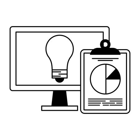Computer with bulb light and statistics clipboard symbol vector illustration graphic design