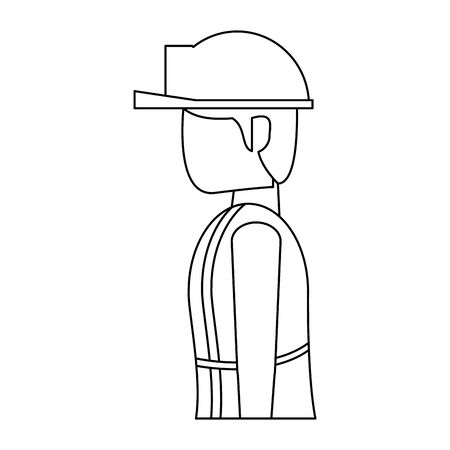 construction architectural engineering, worker making heavy work with protection safety equipment in under construction site isolated cartoon vector illustration graphic design  イラスト・ベクター素材