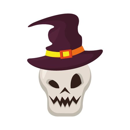 halloween october scary celebration, witch hat with skull cartoon vector illustration graphic design