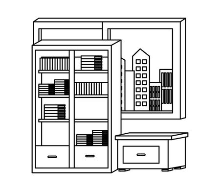 Office and workplace library and drawer with windows cityscape view elements cartoons ,vector illustration graphic design. Иллюстрация