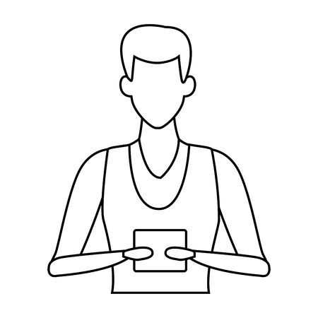 young man upper body with technology device cartoon vector illustration graphic design Stok Fotoğraf - 131418353