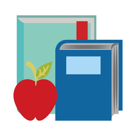 academic books and apple fruit icon over white background, vector illustration