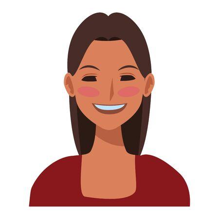 woman avatar cartoon character portrait vector illustration graphic design Ilustração
