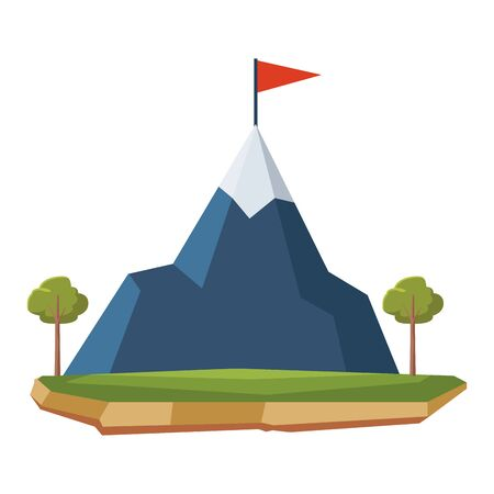 snowy mountain landscape with flag on top and trees around icon cartoon
