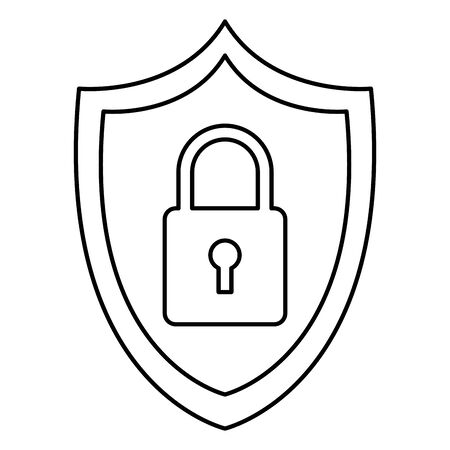 security shield protection padlock cartoon vector illustration graphic design Çizim