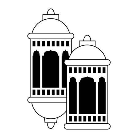 lanterns decoration festival silver and golden lamps, arabic and oriental culture cartoon vector illustration graphic design Çizim