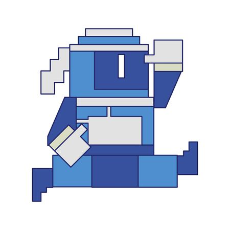 Videogame pixelated ninja character jumping symbol vector illustration graphic design 版權商用圖片 - 131608636
