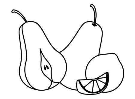delicious mix of fruit with lemon and pear icon cartoon in black and white vector illustration graphic design