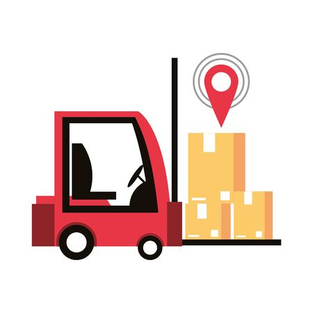 logistic and delivery shipping with forklift and merchandise cardboard boxes with gps location tracing cartoon vector illustration graphic design Ilustração
