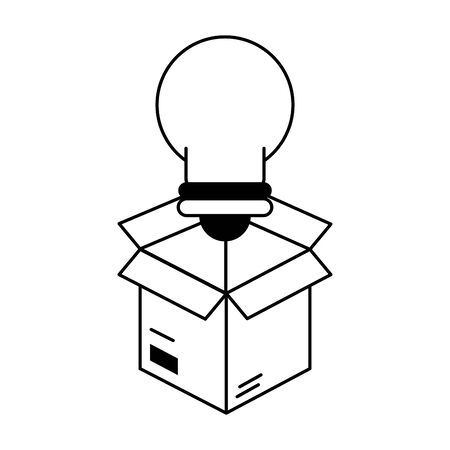 light bulb idea with box cartoon vector illustration graphic design
