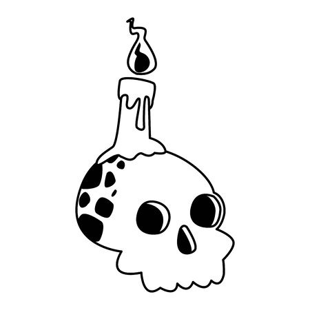 halloween head skull with candle vector illustration design