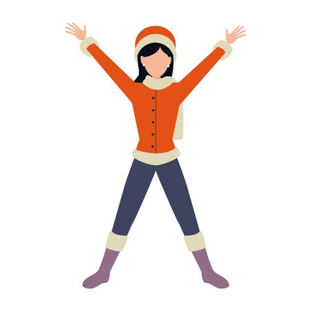 happy young girl with autumn clothes vector illustration design