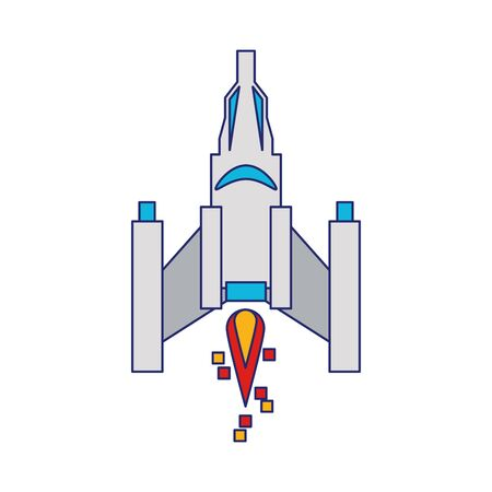 Videogame spaceship taking off isolated vector illustration graphic design