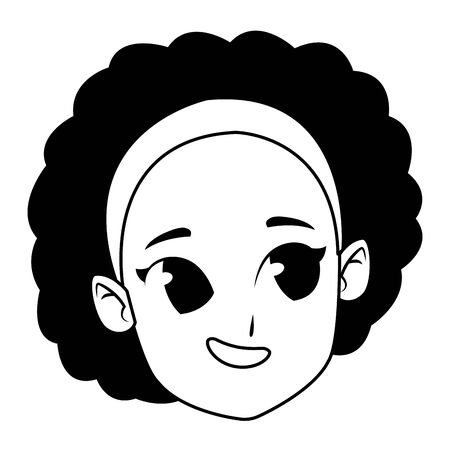 girl smiling and happy portrait isolated vector illustration graphic design
