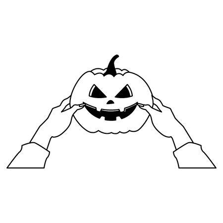 hands lifting halloween pumpkin icon vector illustration design 向量圖像