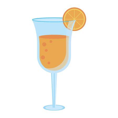 Summer cocktail glass cup with lemon vector illustration graphic design Çizim