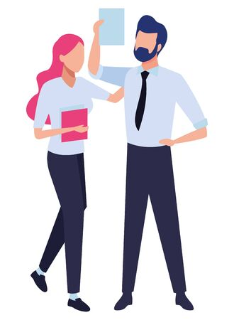 Businessman and businesswoman working and talking with office documents colorful isolated faceless avatar vector illustration graphic design