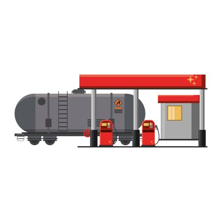 Fuel station with truck tank isolated vector illustration graphic design Çizim