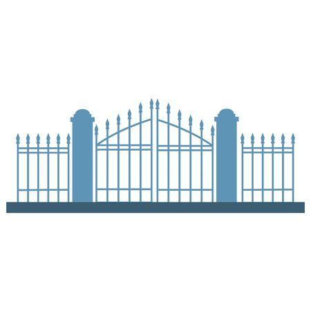halloween cemetery gate isolated icon vector illustration design Ilustração