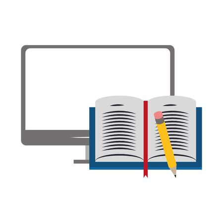 computer with open book and pencil over white background, vector illustration Illustration