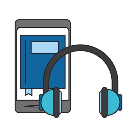 smartphone and headphones icon over white background, vector illustration 일러스트