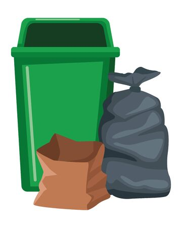 plastic garbage can, garage bag and paper bag icon cartoon vector illustration graphic design