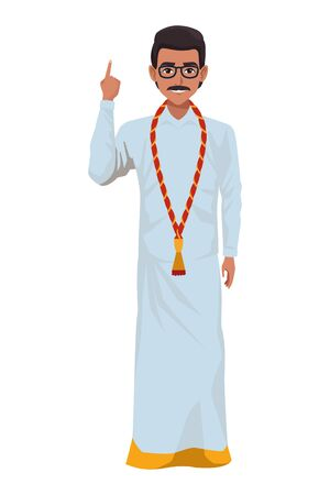 indian man wearing traditional hindu clothes man with moustache and glasses profile picture avatar cartoon character portrait vector illustration graphic design Banque d'images - 131494186