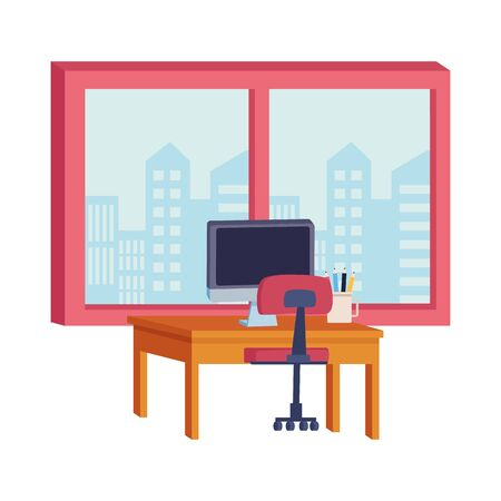 Office workplace desk with computer and window with cityscape view elements cartoons ,vector illustration graphic design. Banque d'images - 131494192