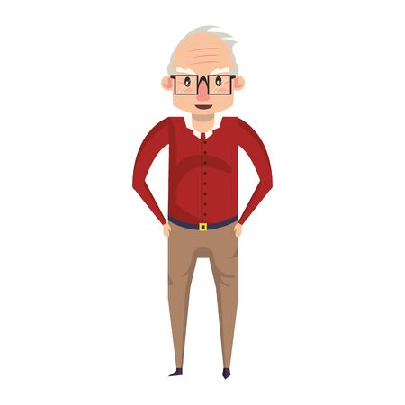 grandparent senior old retirement grandfather wearing glasses cartoon vector illustration graphic design  イラスト・ベクター素材