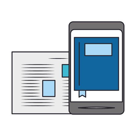 smartphone and document page over white background, vector illustration 일러스트