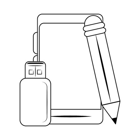 pencil with smartphone and usb icon over white background, vector illustration Stock fotó - 131492473