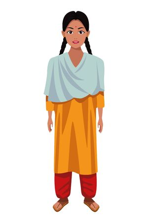 indian young girl with braid wearing traditional hindu clothes profile picture avatar cartoon character portrait vector illustration graphic design Banque d'images - 131494199
