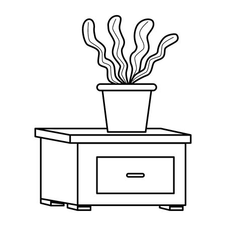Office workplace elements plant pot on drawer cartoons ,vector illustration graphic design. Banque d'images - 131494247