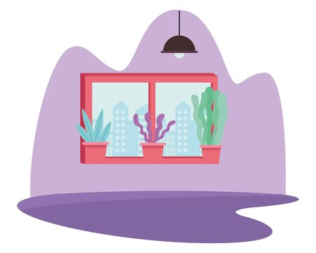 Windows cityscape view and plant pots cartoon ,vector illustration graphic design. Иллюстрация