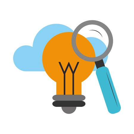 cloud with magnifying glass and bulb light icon over white background, vector illustration Illustration