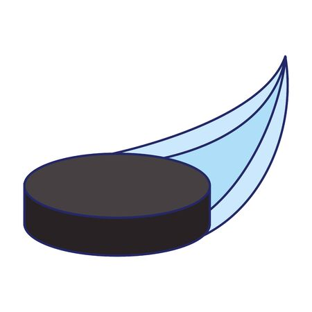 hockey puck flying over white background, vector illustration
