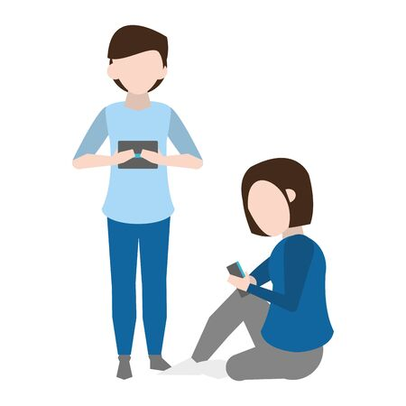 avatar man and woman using a smartphone over white background, vector illustration Ilustrace