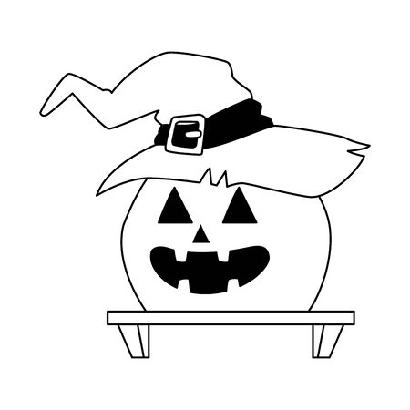 halloween pumpkin with witch hat vector illustration design  イラスト・ベクター素材