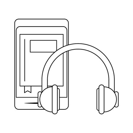 smartphone and headphones icon over white background, vector illustration Illustration